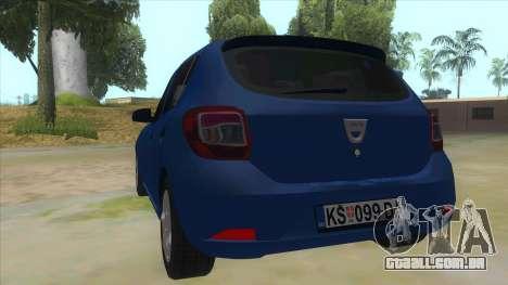 2016 Dacia Sandero para GTA San Andreas traseira esquerda vista