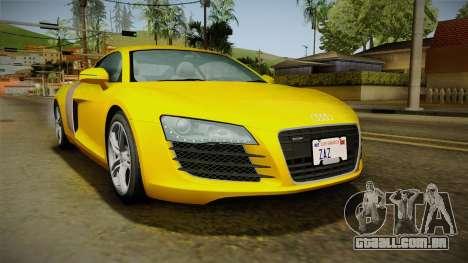 Audi R8 Coupe 4.2 FSI quattro EU-Spec 2008 Dirt para GTA San Andreas traseira esquerda vista