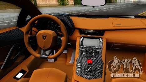 Lamborghini Aventador LP700-4 Light Tune para GTA San Andreas vista interior