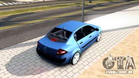 Renault Megane Sedan para GTA San Andreas traseira esquerda vista