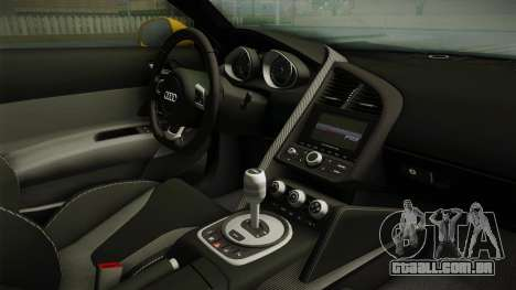 Audi R8 Coupe 4.2 FSI quattro EU-Spec 2008 Dirt para GTA San Andreas vista interior