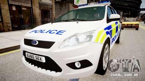 Ford Focus Estate '09 police UK para GTA 4