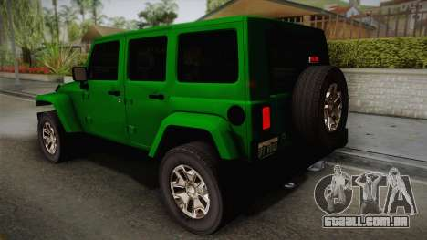 Jeep Wrangler Unlimited Rubicon 2013 para GTA San Andreas