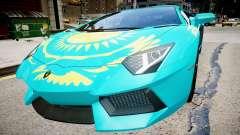 Lamborghini Aventador com uma bandeira do Cazaqu