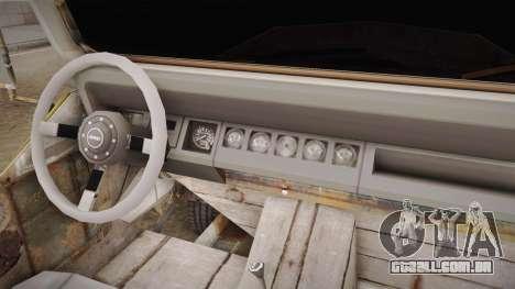 Jeep Wrangler Mad Max Style para GTA San Andreas vista interior
