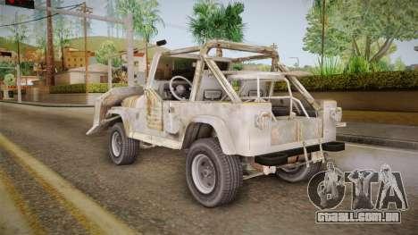 Jeep Wrangler Mad Max Style para GTA San Andreas esquerda vista