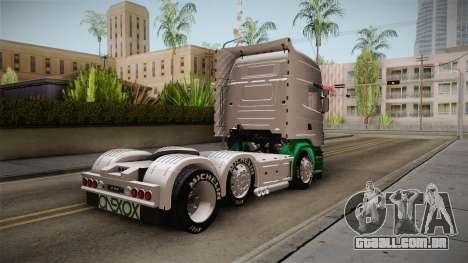 Scania R620 ONEXOX para GTA San Andreas traseira esquerda vista