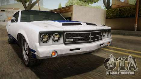 GTA 5 Declasse Sabre GT Painted Bumpers para GTA San Andreas vista inferior