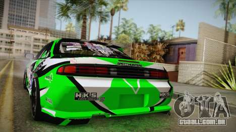 Nissan Silvia S14 Drift Speedhunters Saekano para GTA San Andreas vista traseira