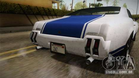 GTA 5 Declasse Sabre GT Painted Bumpers para GTA San Andreas vista interior