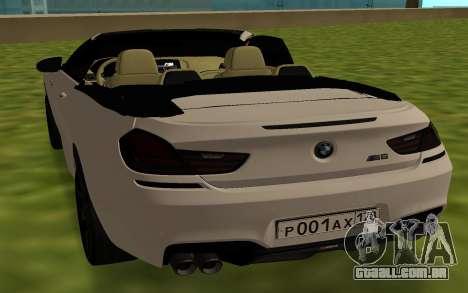BMW M6 F13 Cabrio para GTA San Andreas traseira esquerda vista