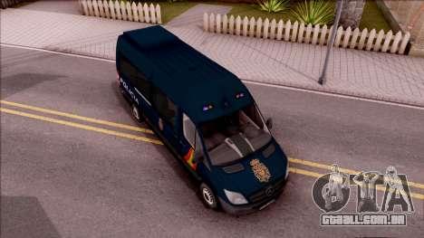 Mercedes-Benz Sprinter Spanish Police para GTA San Andreas vista direita
