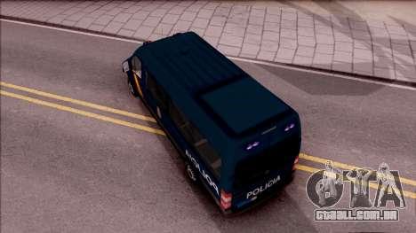 Mercedes-Benz Sprinter Spanish Police para GTA San Andreas vista traseira