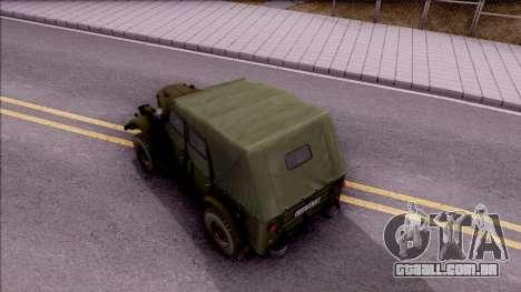 GAZ 69UM para GTA San Andreas vista traseira
