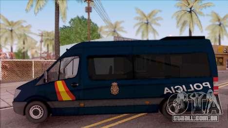 Mercedes-Benz Sprinter Spanish Police para GTA San Andreas esquerda vista