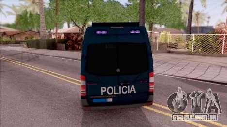 Mercedes-Benz Sprinter Spanish Police para GTA San Andreas traseira esquerda vista