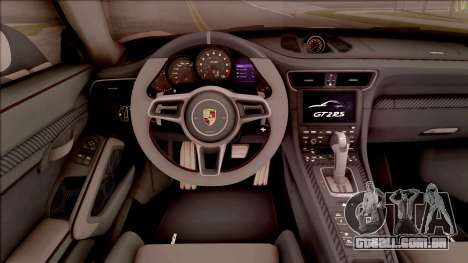 Porsche 911 GT2 RS Weissach Package SA Plate para GTA San Andreas vista interior