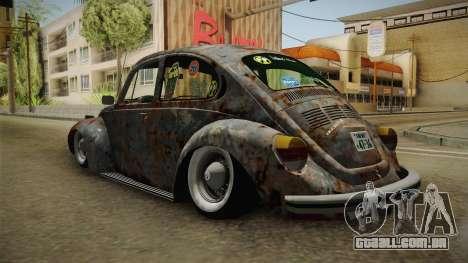 Volkswagen Beetle Rusty para GTA San Andreas traseira esquerda vista