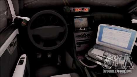 Ford Taurus 2011 Des Moines PD para GTA San Andreas vista interior