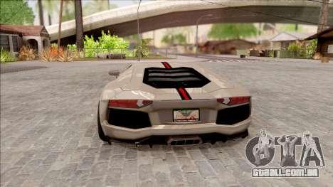 Lamborghini Aventador Shark New Edition White para GTA San Andreas traseira esquerda vista