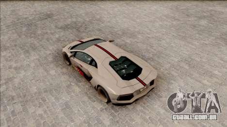 Lamborghini Aventador Shark New Edition White para GTA San Andreas vista traseira