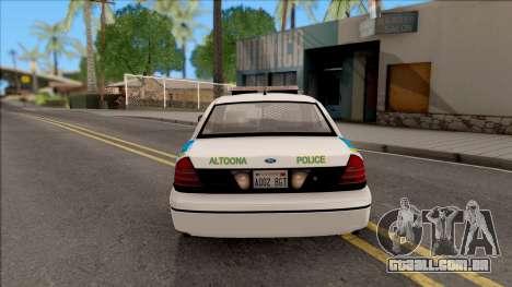 Ford Crown Victoria 2007 Altoona PD para GTA San Andreas traseira esquerda vista