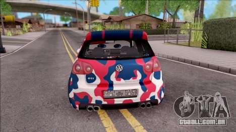 Volkswagen Golf BK GARAGE para GTA San Andreas traseira esquerda vista