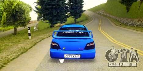 Subaru Impreza WRX STi 2004 (Virtual Diva) para GTA San Andreas traseira esquerda vista