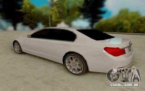 BMW 7 Series 750Li xDrive para GTA San Andreas traseira esquerda vista