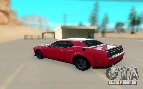 2018 Dodge Challenger Demon SRT para GTA San Andreas traseira esquerda vista
