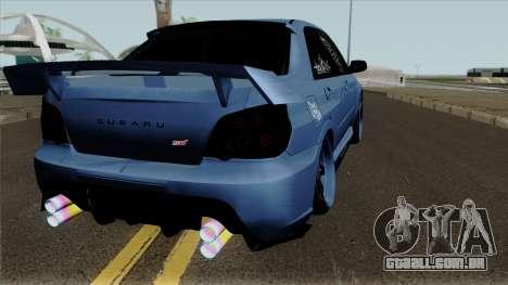 Subaru Impeza WRX STI para GTA San Andreas vista direita