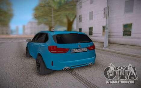 BMW X5M 2015 para GTA San Andreas traseira esquerda vista