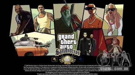GTA SA de Carga de telas - 15 anos, aniversário para GTA San Andreas