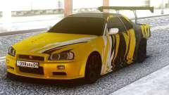 Nissan Skyline R34 GT-R Yellow & Black para GTA San Andreas