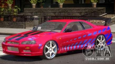 Skyline GT-R34 V1 PJ para GTA 4