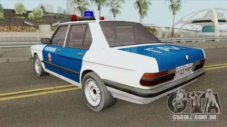 BMW 525E (E28) Police 1987 para GTA San Andreas
